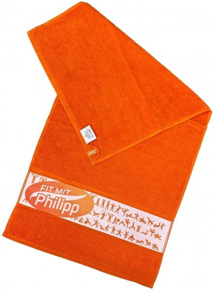 """Fit mit Philipp Handtuch orange """"Team"""""""